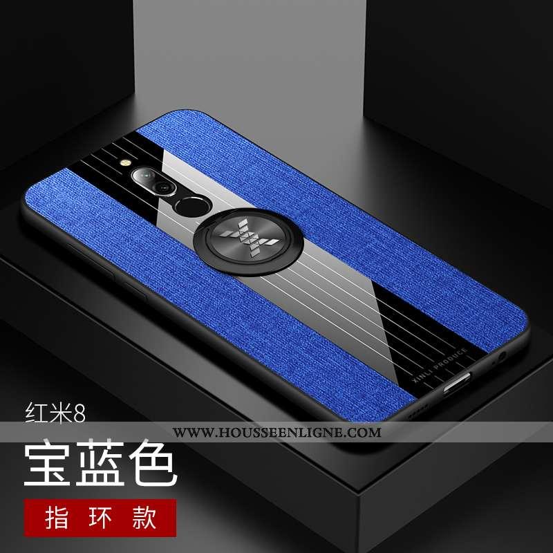 Housse Xiaomi Redmi 8 Protection Délavé En Daim Tissu Modèle Fleurie Coque Support Bleu