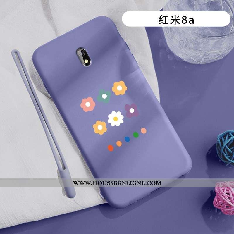 Housse Xiaomi Redmi 8a Silicone Mode Délavé En Daim Rouge Net Rouge Fleurs Tout Compris Violet