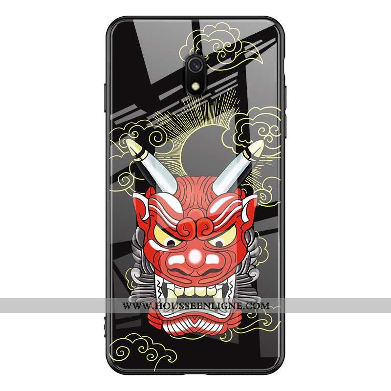 Housse Xiaomi Redmi 8a Tendance Fluide Doux Noir Simple Tempérer Membrane Rouge