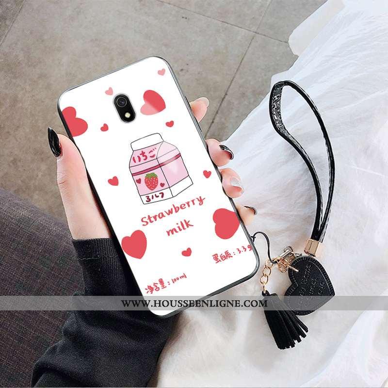 Housse Xiaomi Redmi 8a Verre Fluide Doux Blanc Tout Compris Protection Net Rouge Étui Blanche
