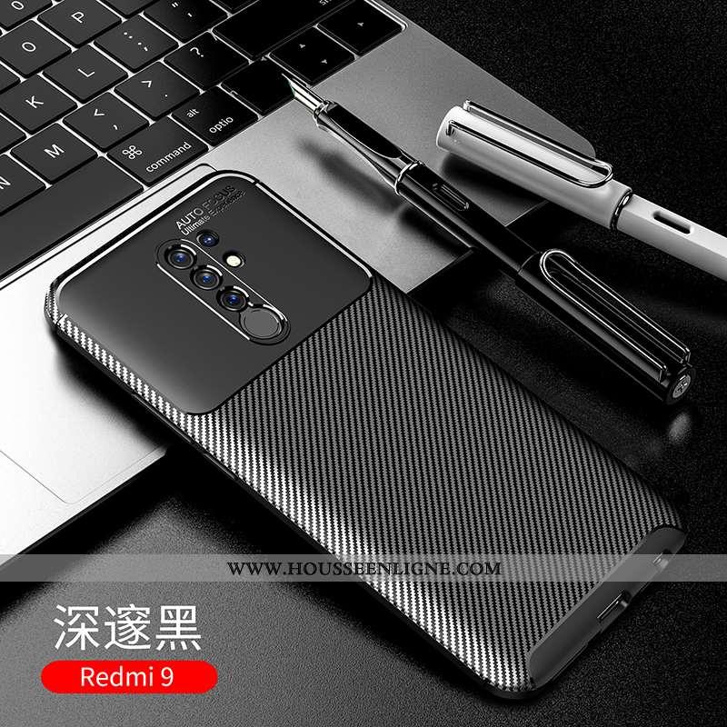 Housse Xiaomi Redmi 9 Protection Délavé En Daim Incassable Fibre Téléphone Portable Petit Coque Noir