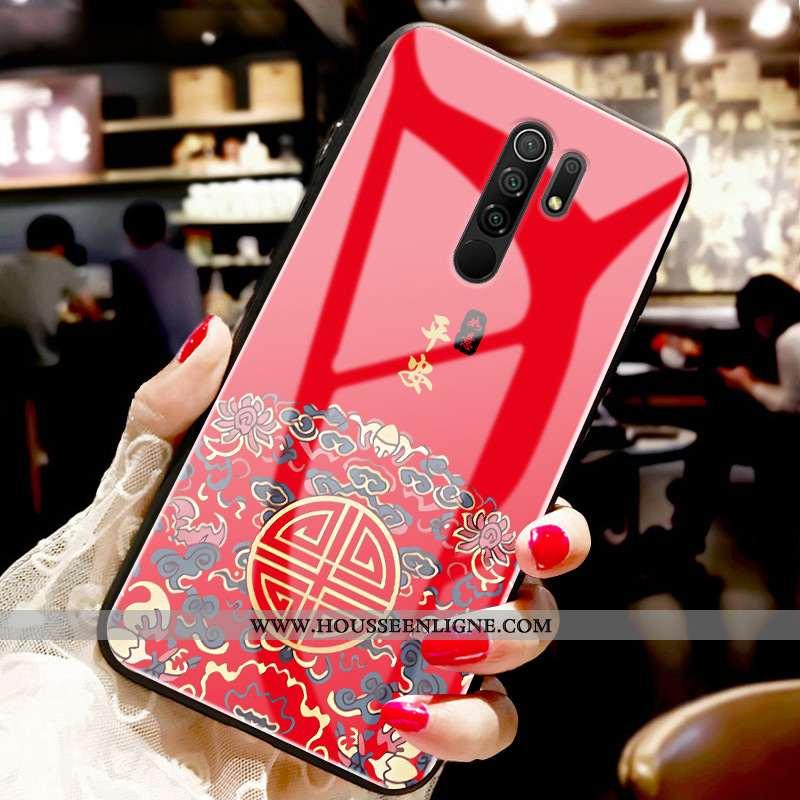 Housse Xiaomi Redmi 9 Protection Verre Style Chinois Tendance Étui Amoureux Fluide Doux Rouge