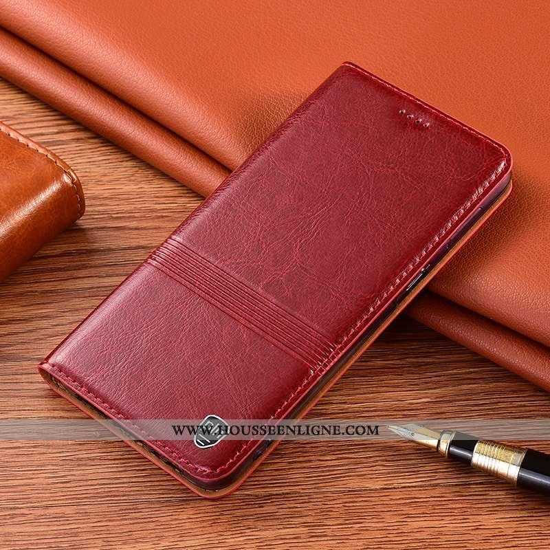 Housse Xiaomi Redmi 9a Cuir Véritable Protection Incassable Téléphone Portable Rouge Étui