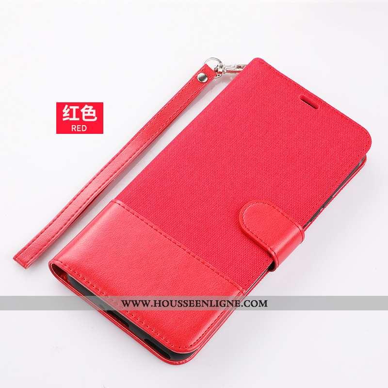 Housse Xiaomi Redmi 9a Portefeuille Cuir Incassable Téléphone Portable Étui Rouge