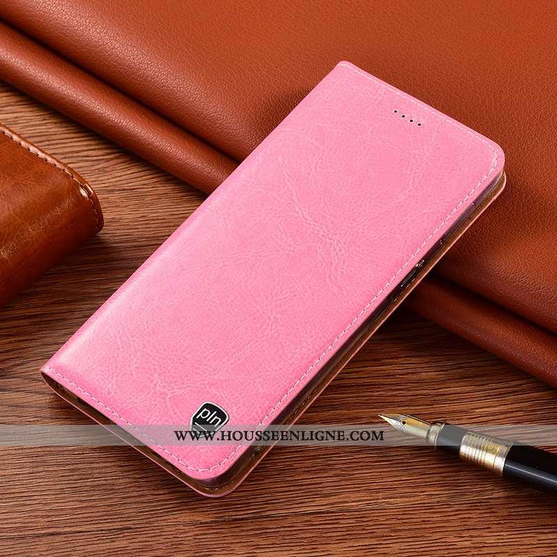 Housse Xiaomi Redmi 9a Protection Cuir Véritable Petit Étui Téléphone Portable Rose Incassable