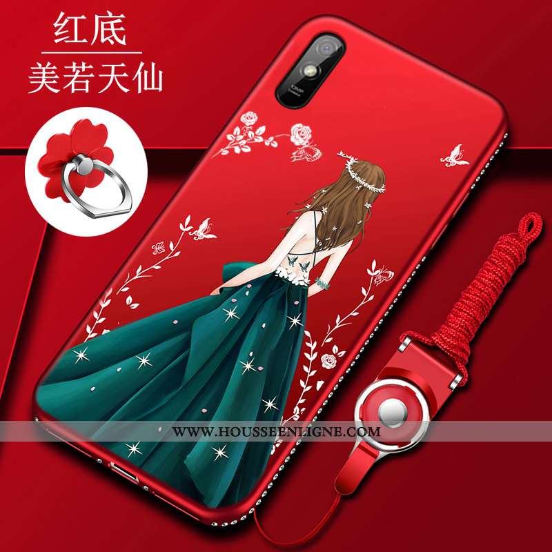 Housse Xiaomi Redmi 9a Silicone Protection Tendance Tempérer Créatif Petit Étui Rouge