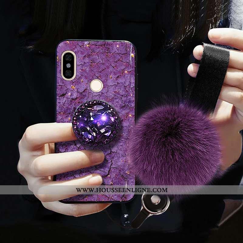 Housse Xiaomi Redmi Note 5 Légère Modèle Fleurie Fluide Doux Cristal Violet Ultra Protection