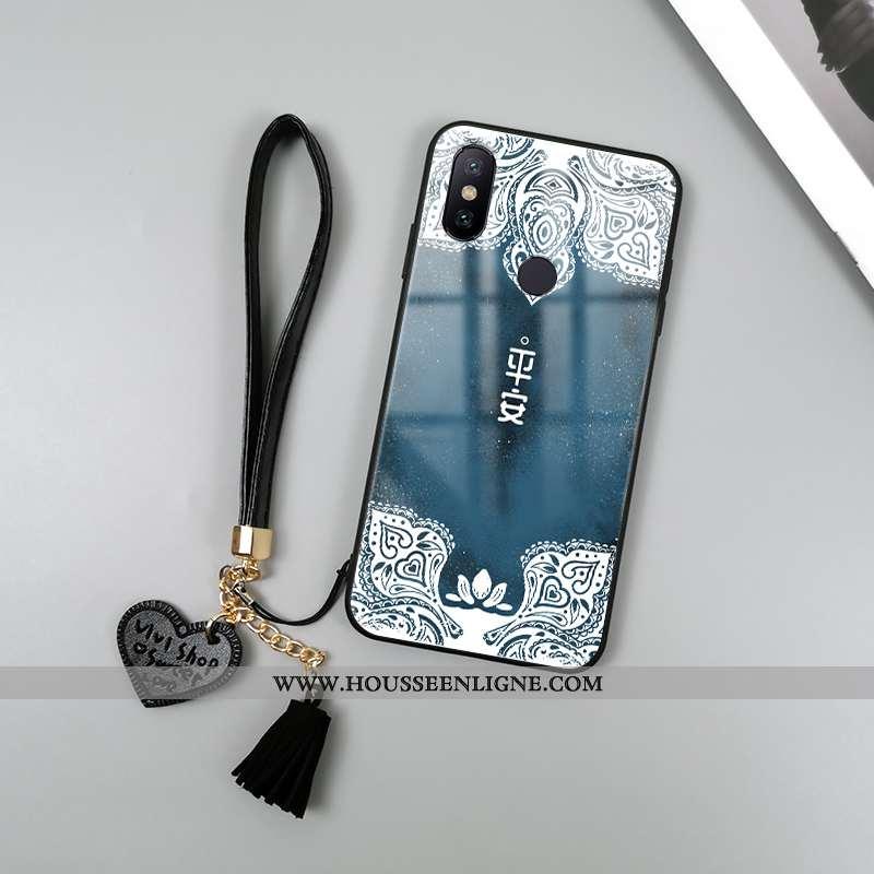 Housse Xiaomi Redmi Note 6 Pro Protection Verre Rouge Étui Tendance Téléphone Portable Coque Bleu