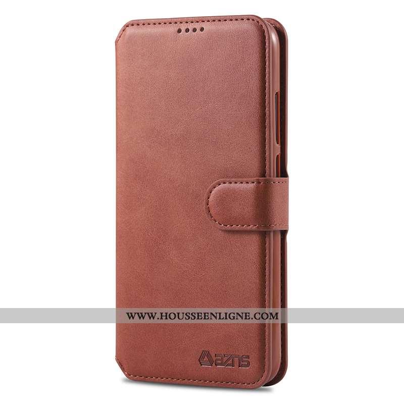Housse Xiaomi Redmi Note 7 Fluide Doux Silicone Protection Marron Étui Rouge Coque