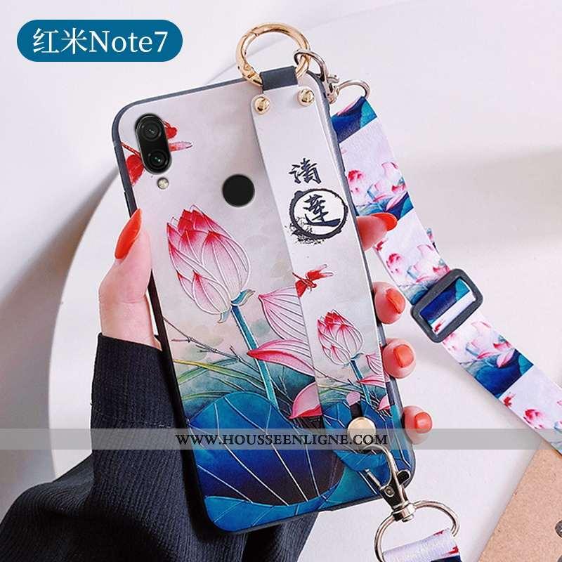 Housse Xiaomi Redmi Note 7 Légère Fluide Doux Bleu Étui Incassable Silicone Tendance
