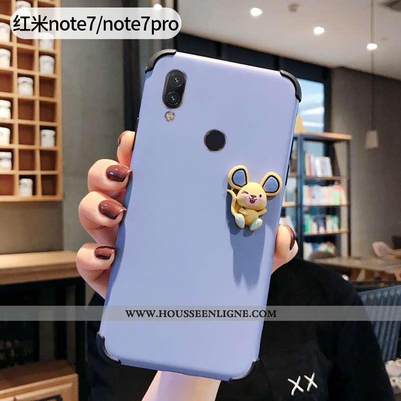 Housse Xiaomi Redmi Note 7 Protection Délavé En Daim Silicone Petit Téléphone Portable Bleu Ultra