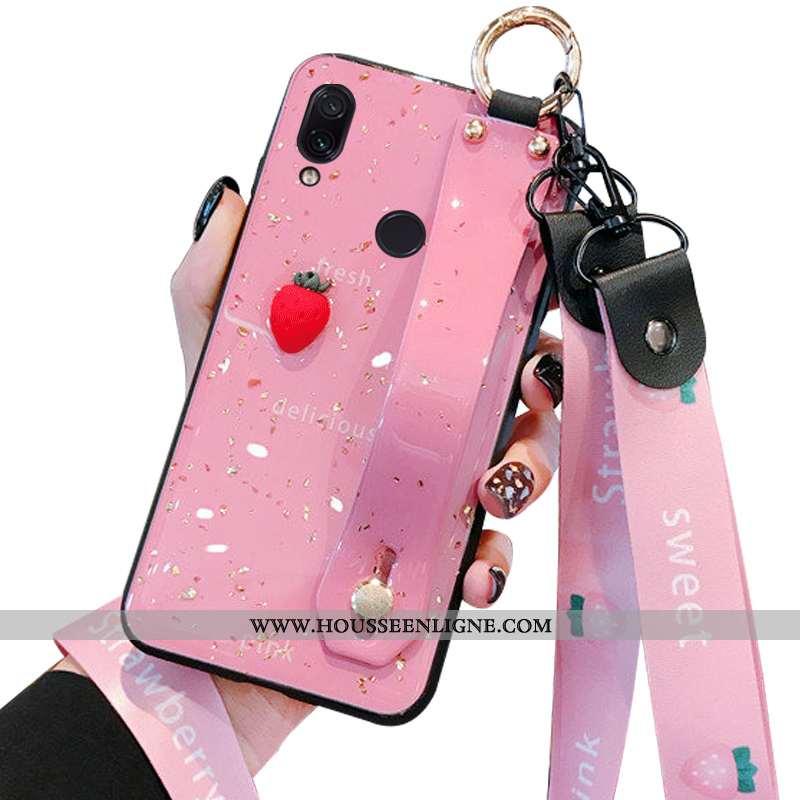 Housse Xiaomi Redmi Note 7 Tendance Fluide Doux Net Rouge Petit Bovins Protection Vert Rose