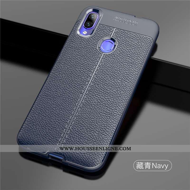 Housse Xiaomi Redmi Note 7 Ultra Légère Téléphone Portable Étui Coque Cuir Modèle Fleurie Bleu Foncé
