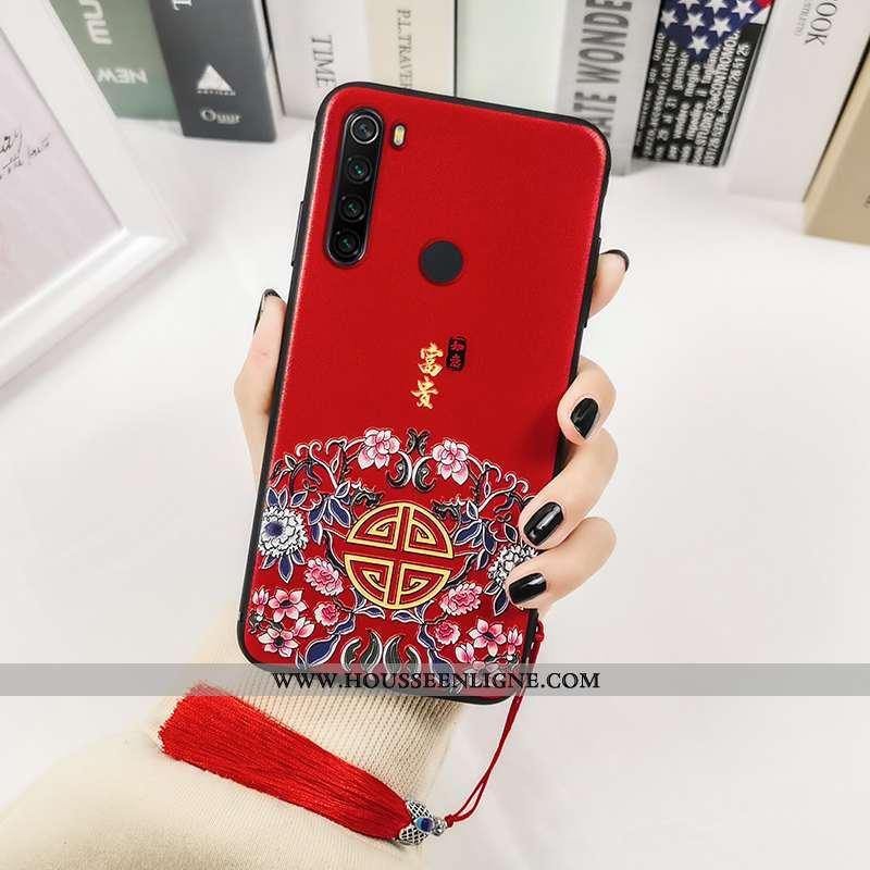 Housse Xiaomi Redmi Note 8t Gaufrage Vintage Personnalité Créatif Imprimé Totem Silicone Rouge