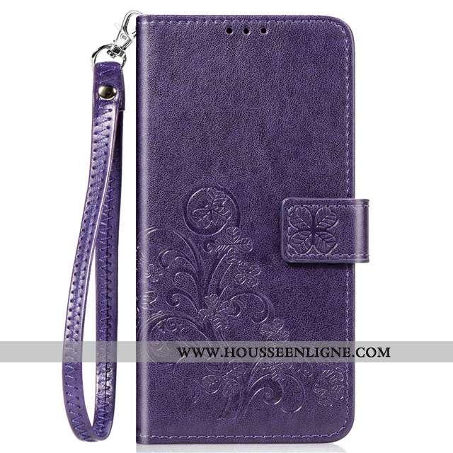 Housse Xiaomi Redmi Note 9 Cuir Fluide Doux Téléphone Portable Rouge Petit Étui Clamshell Violet