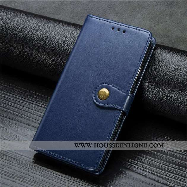 Housse Xiaomi Redmi Note 9 Pro Cuir Petit Coque Téléphone Portable Bleu Marin Clamshell Étui Bleu Fo