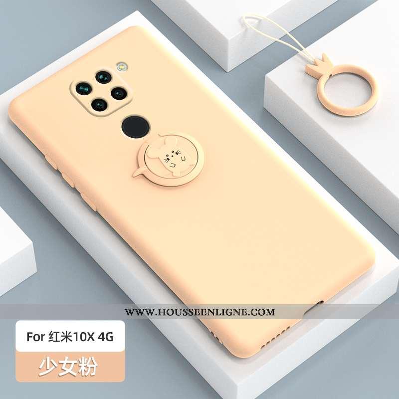 Housse Xiaomi Redmi Note 9 Protection Délavé En Daim Silicone Simple Support Rouge Rose