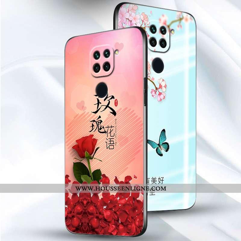 Housse Xiaomi Redmi Note 9 Silicone Protection Nouveau Étui Coque Fleur Incassable Rose
