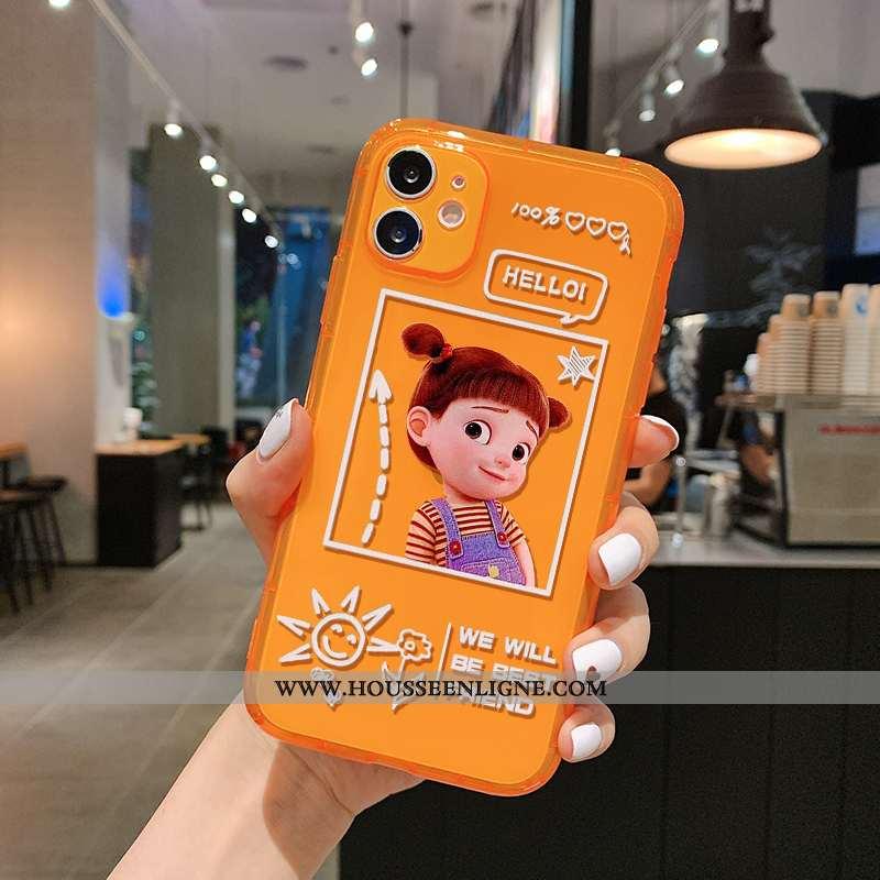 Housse iPhone 11 Charmant Fluide Doux Tout Compris Étui Téléphone Portable Orange Incassable