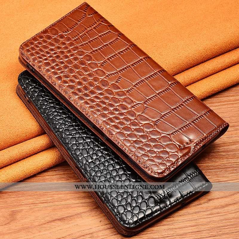 Housse iPhone 11 Cuir Véritable Cuir Crocodile Étui Téléphone Portable Clamshell Protection Marron