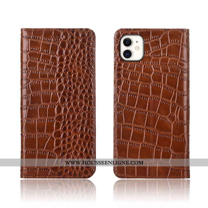 Housse iPhone 11 Cuir Véritable Modèle Fleurie Crocodile Étui Téléphone Portable Silicone Protection