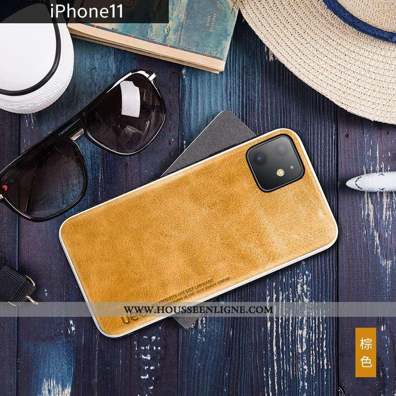 Housse iPhone 11 Cuir Véritable Tendance Luxe Nouveau Jaune Cuir Bovins
