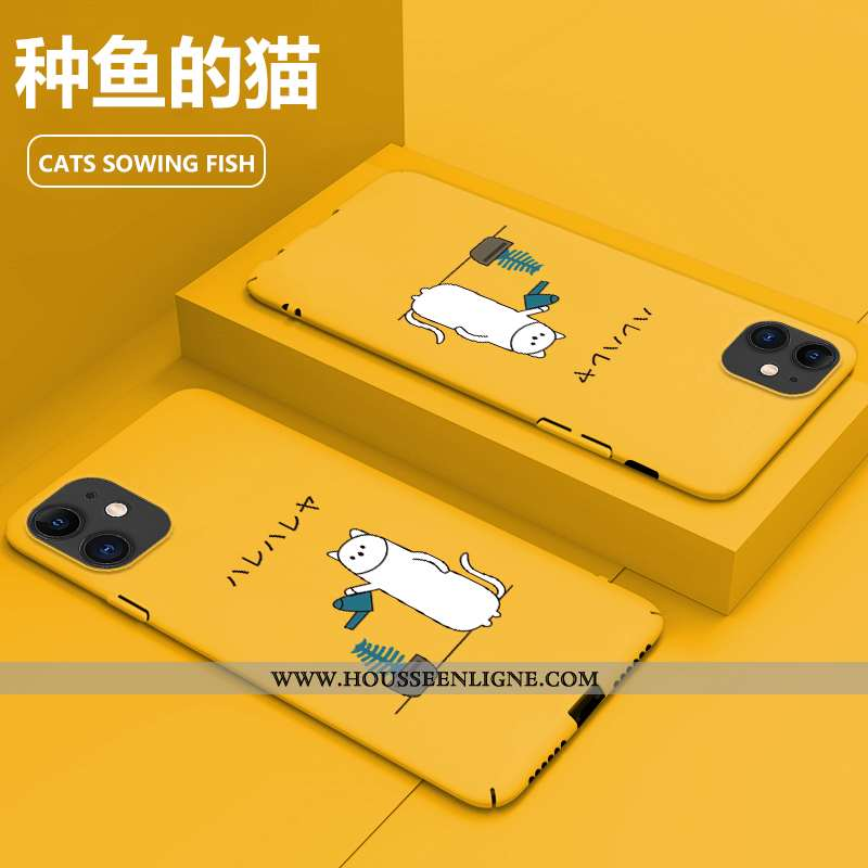 Housse iPhone 11 Délavé En Daim Personnalité Tout Compris Jaune Incassable Protection Coque