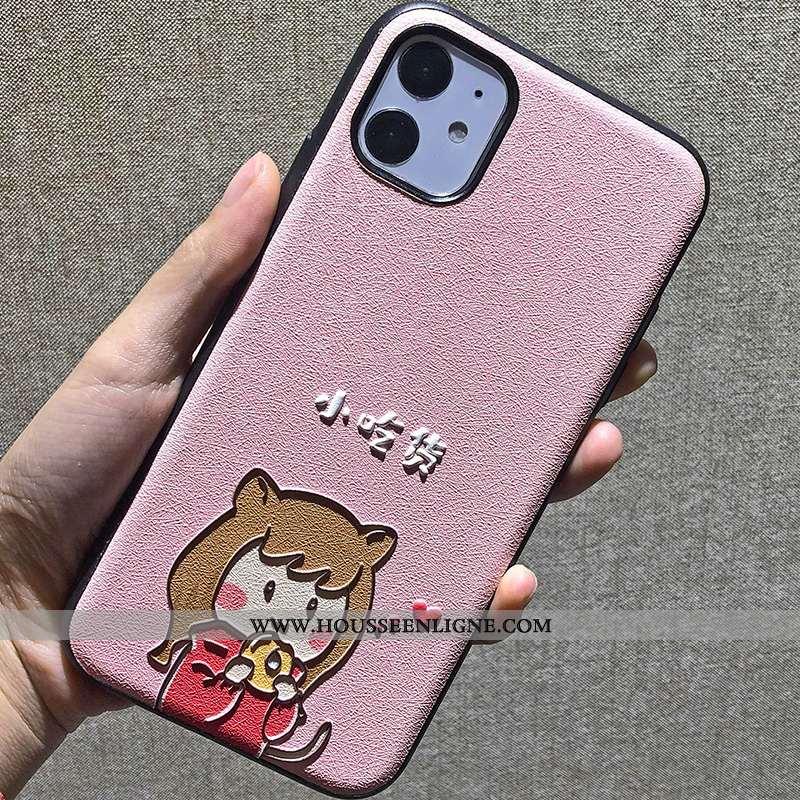 Housse iPhone 11 Dessin Animé Gaufrage Simple Soie Mulberry Téléphone Portable Rose Difficile