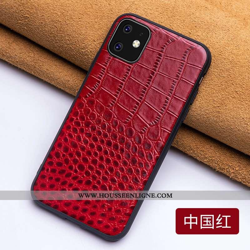 Housse iPhone 11 Légère Cuir Tendance Téléphone Portable Rouge Personnalité Incassable