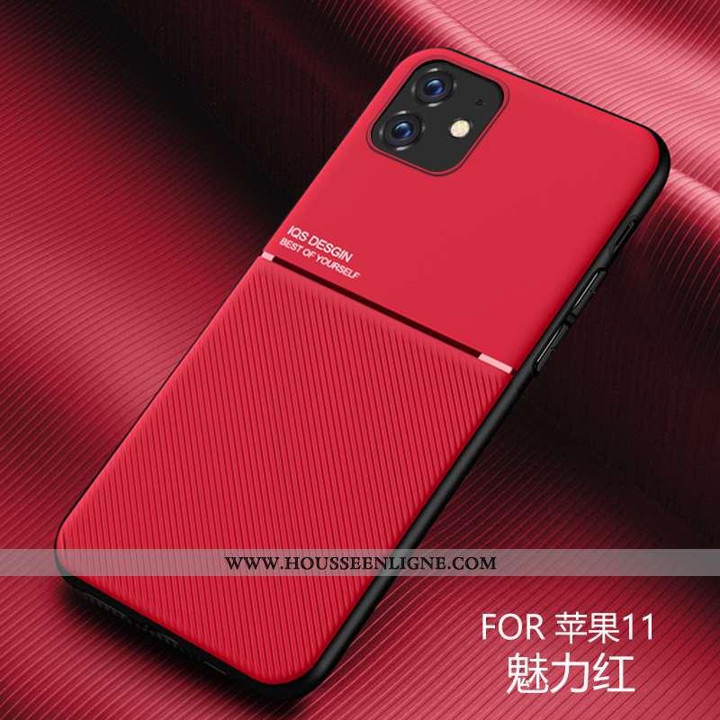 Housse iPhone 11 Modèle Fleurie Fluide Doux Nouveau Protection Cuir Personnalité Tendance Rouge