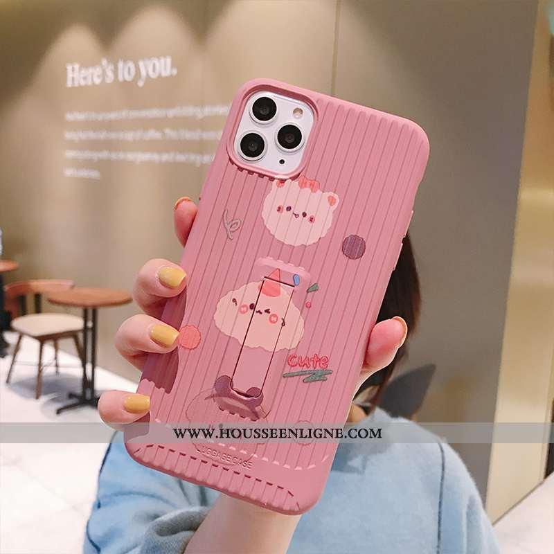 Housse iPhone 11 Pro Charmant Tendance Dessin Animé Chiens Personnalité Incassable Coque Rose