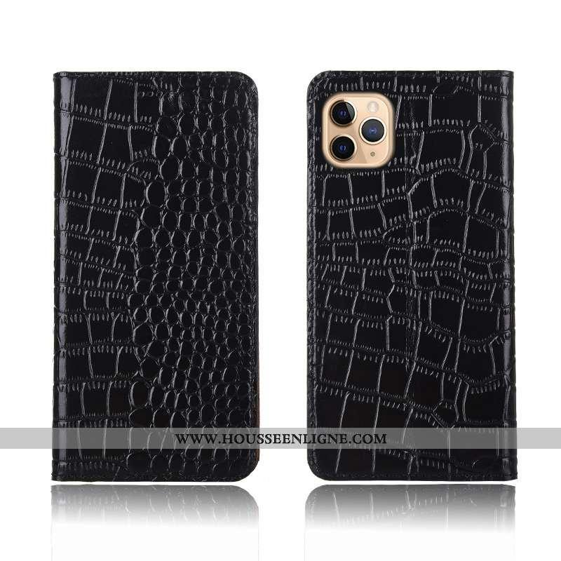 Housse iPhone 11 Pro Cuir Véritable Modèle Fleurie Noir Incassable Protection Silicone Téléphone Por