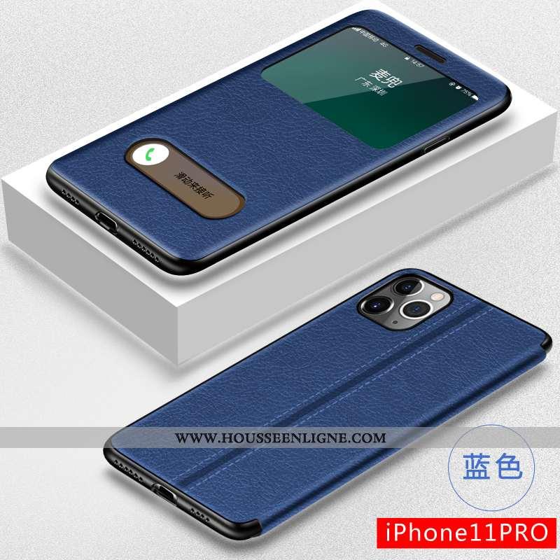 Housse iPhone 11 Pro Fluide Doux Silicone Cuir Bleu Marin Téléphone Portable Créatif Incassable Bleu
