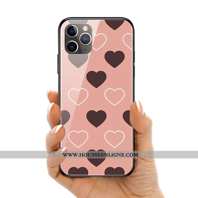 Housse iPhone 11 Pro Max Créatif Silicone Amour Rose Téléphone Portable Coque Point D'onde
