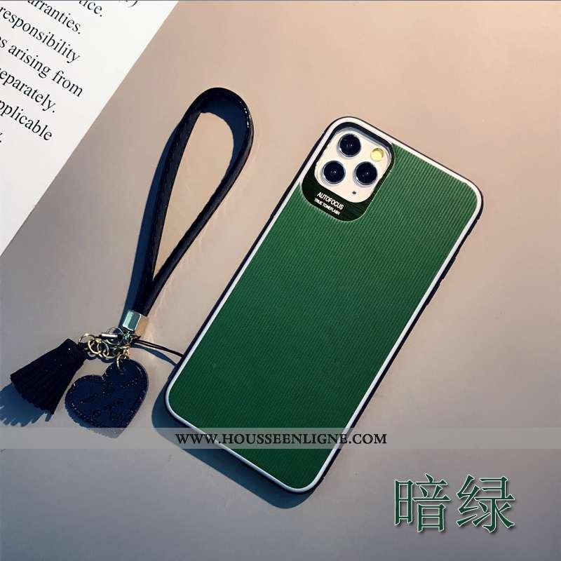Housse iPhone 11 Pro Max Cuir Protection Tout Compris Personnalité Tendance Incassable Coque Verte