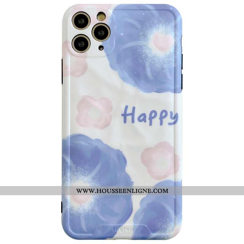 Housse iPhone 11 Pro Max Personnalité Créatif Protection Vent Bleu Étui Fleurs