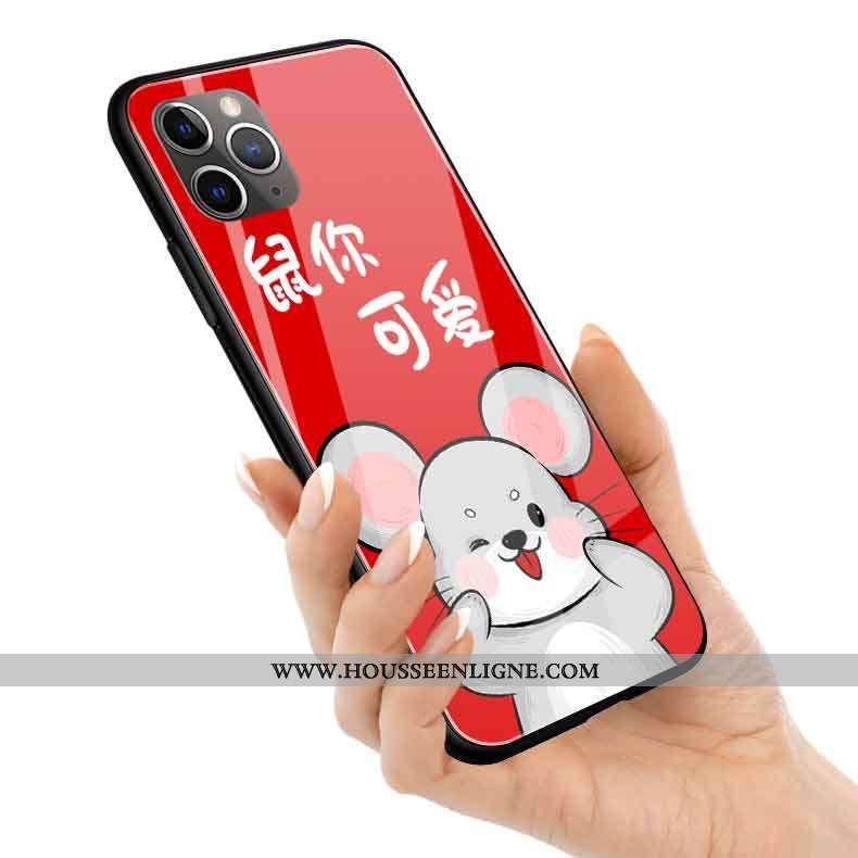 Housse iPhone 11 Pro Max Protection Verre Coque Silicone Rouge Rat Nouveau