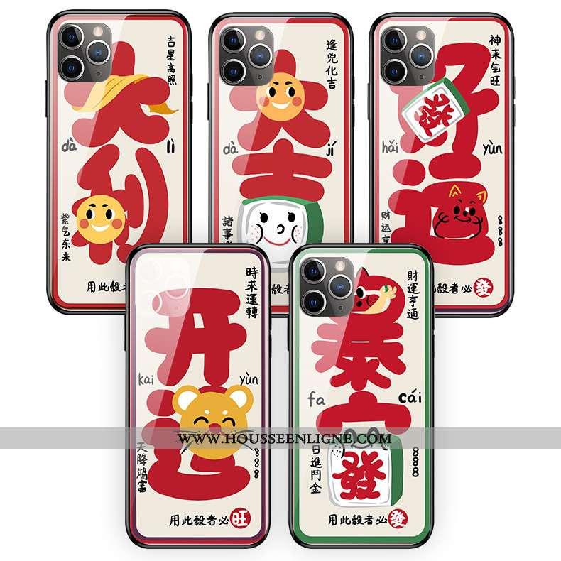 Housse iPhone 11 Pro Max Verre Créatif Rat Coque Rouge Silicone Téléphone Portable