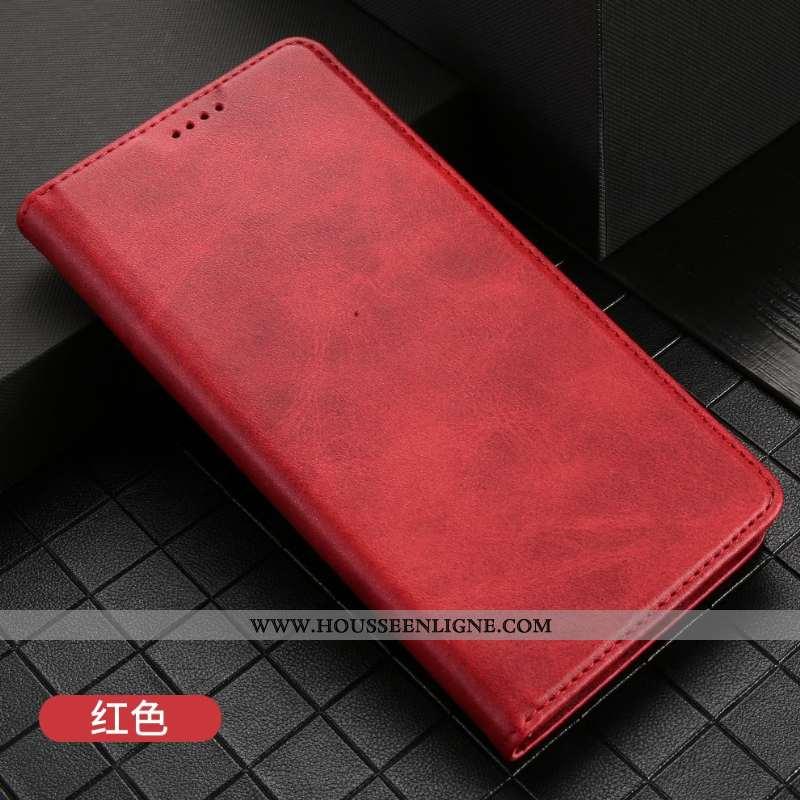 Housse iPhone 11 Protection Cuir Rouge Carte Tout Compris Étui Business