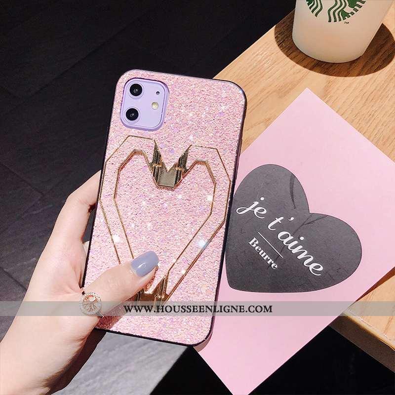 Housse iPhone 11 Ultra Légère Étui Incassable Protection Support Couleur Unie Rose