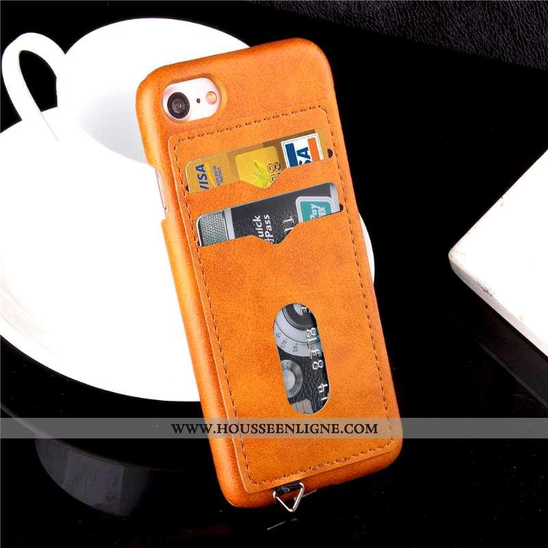 Housse iPhone 7 Cuir Protection Téléphone Portable Carte Coque Orange Incassable