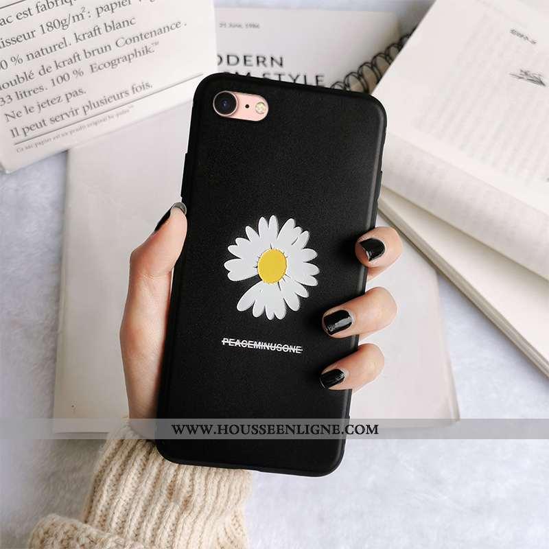 Housse iPhone 7 Fluide Doux Silicone Gaufrage Tout Compris Téléphone Portable Incassable Noir