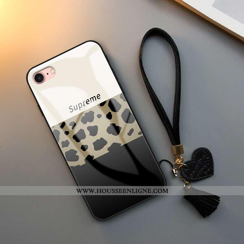 Housse iPhone 7 Fluide Doux Verre Vent Coque Personnalité Tout Compris Incassable Blanche