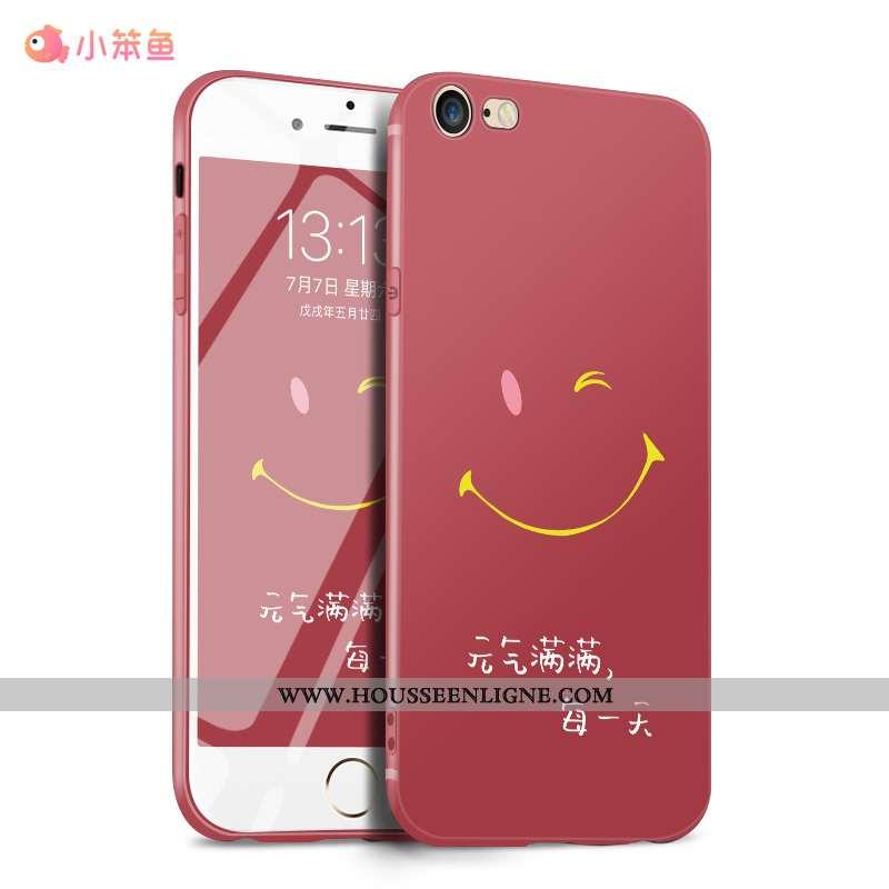 Housse iPhone 7 Légère Fluide Doux Tout Compris Délavé En Daim Étui Protection Silicone Rouge