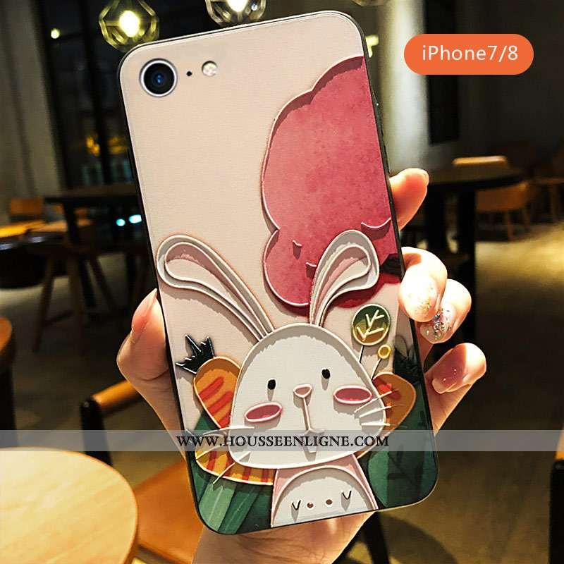 Housse iPhone 7 Personnalité Créatif Rose Coque Lapin Dessin Animé Amoureux