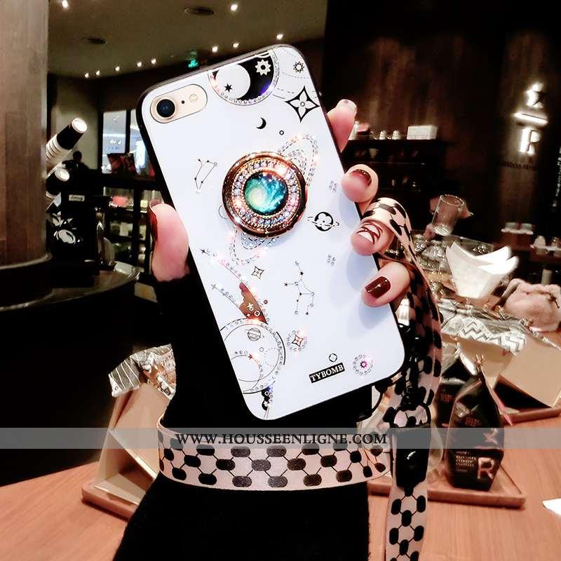 Housse iPhone 7 Personnalité Tendance Incassable Téléphone Portable Blanc Fluide Doux Ornements Susp