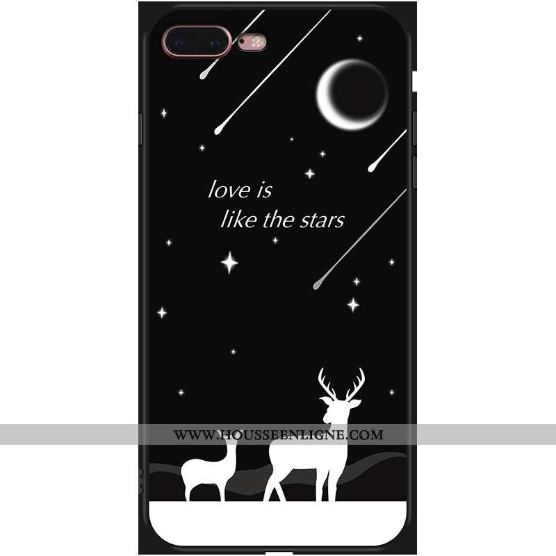 Housse iPhone 7 Plus Fluide Doux Téléphone Portable Noir Incassable Coque