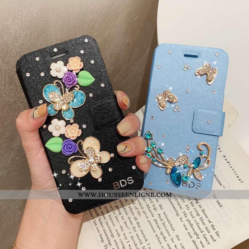Housse iPhone 7 Plus Modèle Fleurie Protection Étui Tendance Cuir Coque Téléphone Portable Bleu