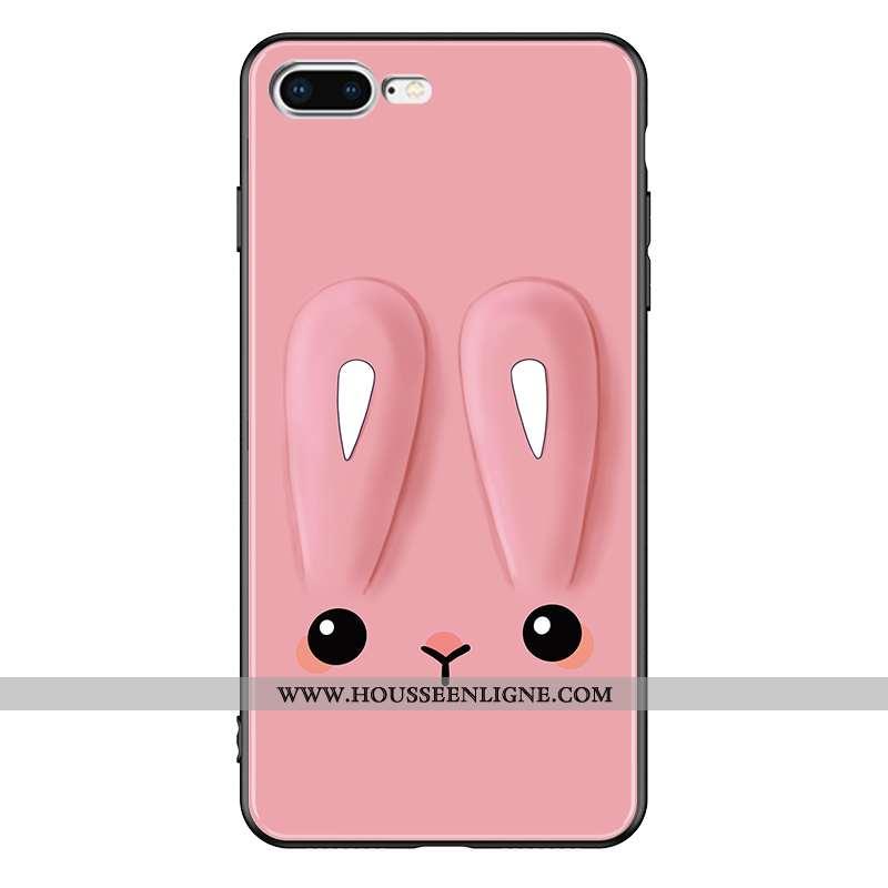 Housse iPhone 7 Plus Mode Protection Rose Téléphone Portable Pu Dessin Animé Tout Compris