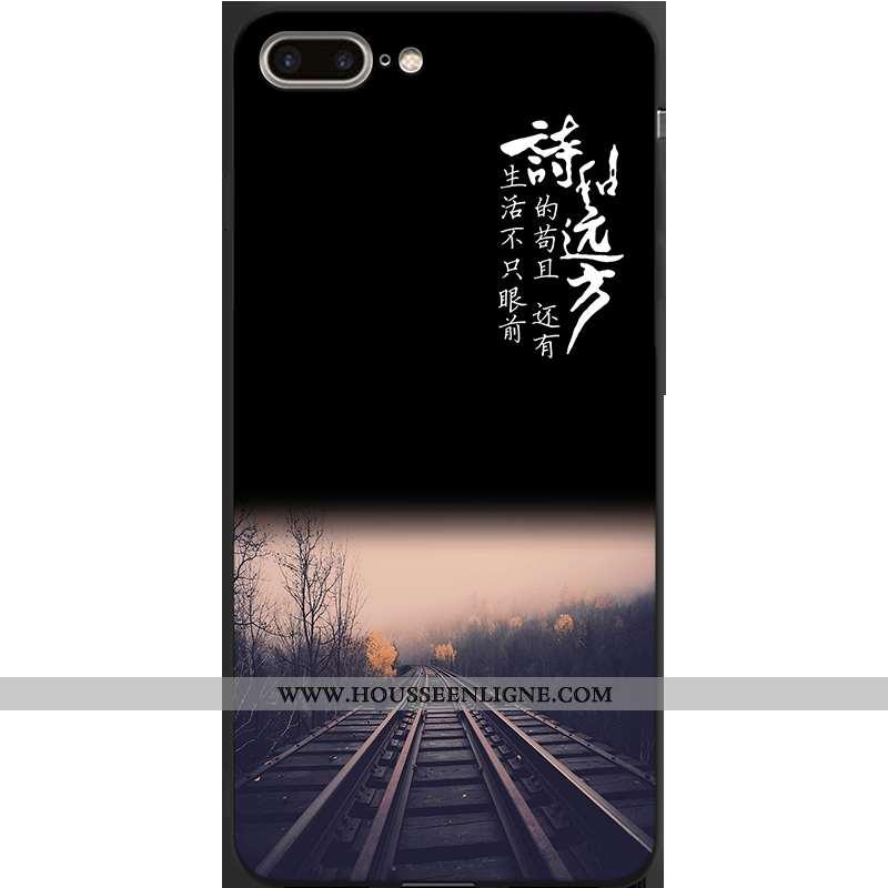 Housse iPhone 7 Plus Personnalité Créatif Noir Bordure Incassable Tout Compris Étui